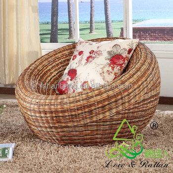 Natural Rattan Cane Wicker Round Lounge Sofa Chair