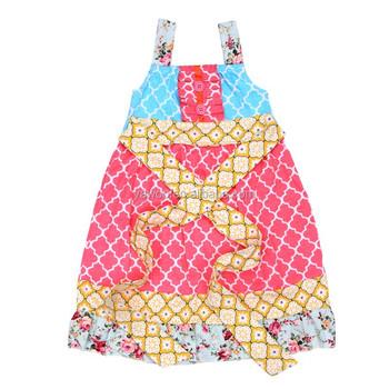 c7c29a6f85ee0 Modern Organic Cotton Flower Girl Casual Quatrefoil Dress Baby Girl Frock  Fancy Smoking Dress For Kids