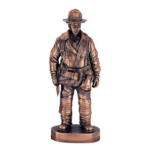 Custom Size Copper Finish Resin Fireman Figurine