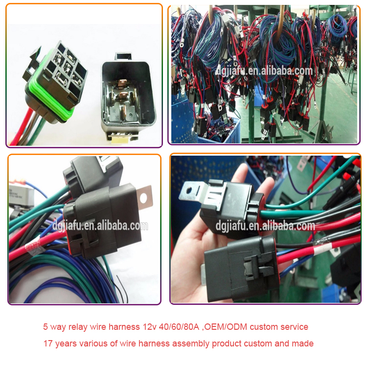 12v 40a 5pin Auto Relay Socket Customized Wire Harness