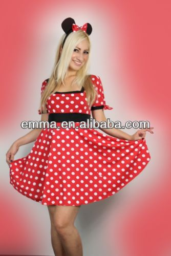 donne sexy halloween signore Minnie del mouse rosso fancy dress abito costume bw969