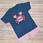 OEM crab embroidered navy little boys seersucker clothing set for summer high quality baby boys boutique outfits