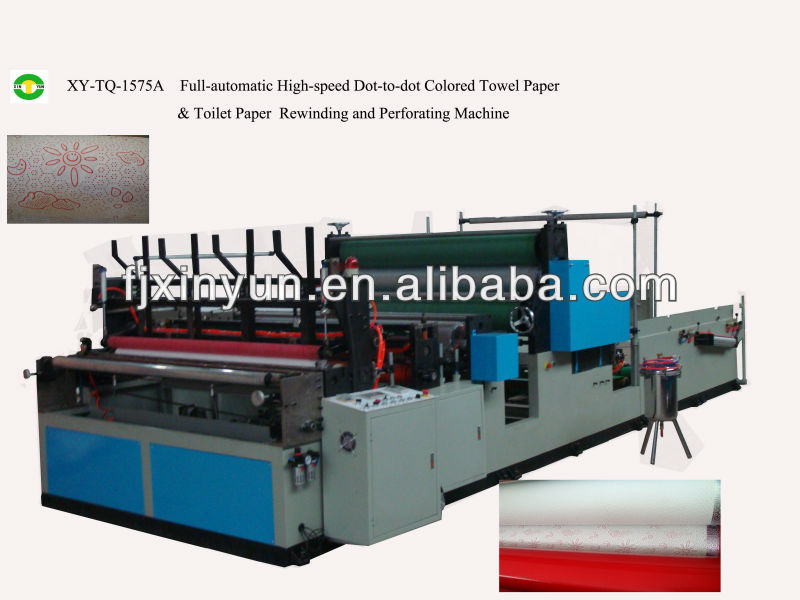 Full automatic towel and toilet paper roll rewinding and punching machine
