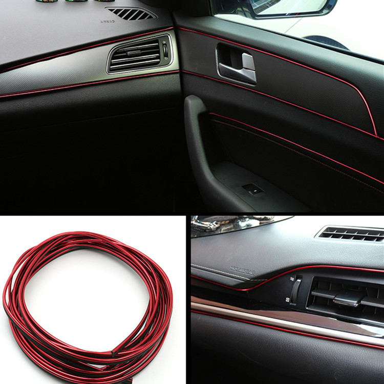 5 m FAI DA TE Auto Interni Esterno Retrofit Decorative Flessibile Striscia di Accessori Auto