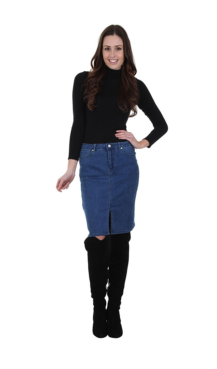 bc71112ca8 Get Quotations · Queen Hearts Knee Length Jean Skirt With Front Split  Stonewash Womens Denim Skirt, Pencil Ski