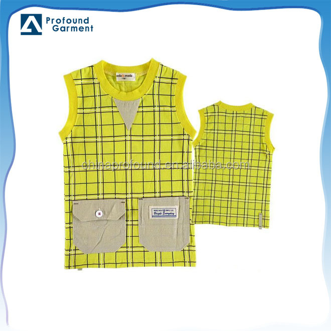 grid sleeveless kid's t-shirt kids t-shirt oem kids t-shirt 2017 with front pocket