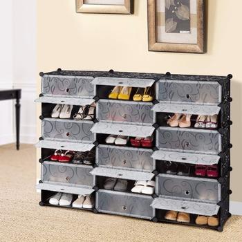 10 Cube DIY Shoe Rack, Multi Use Modular Organizer Storage Plastic Cabinet  With Doors