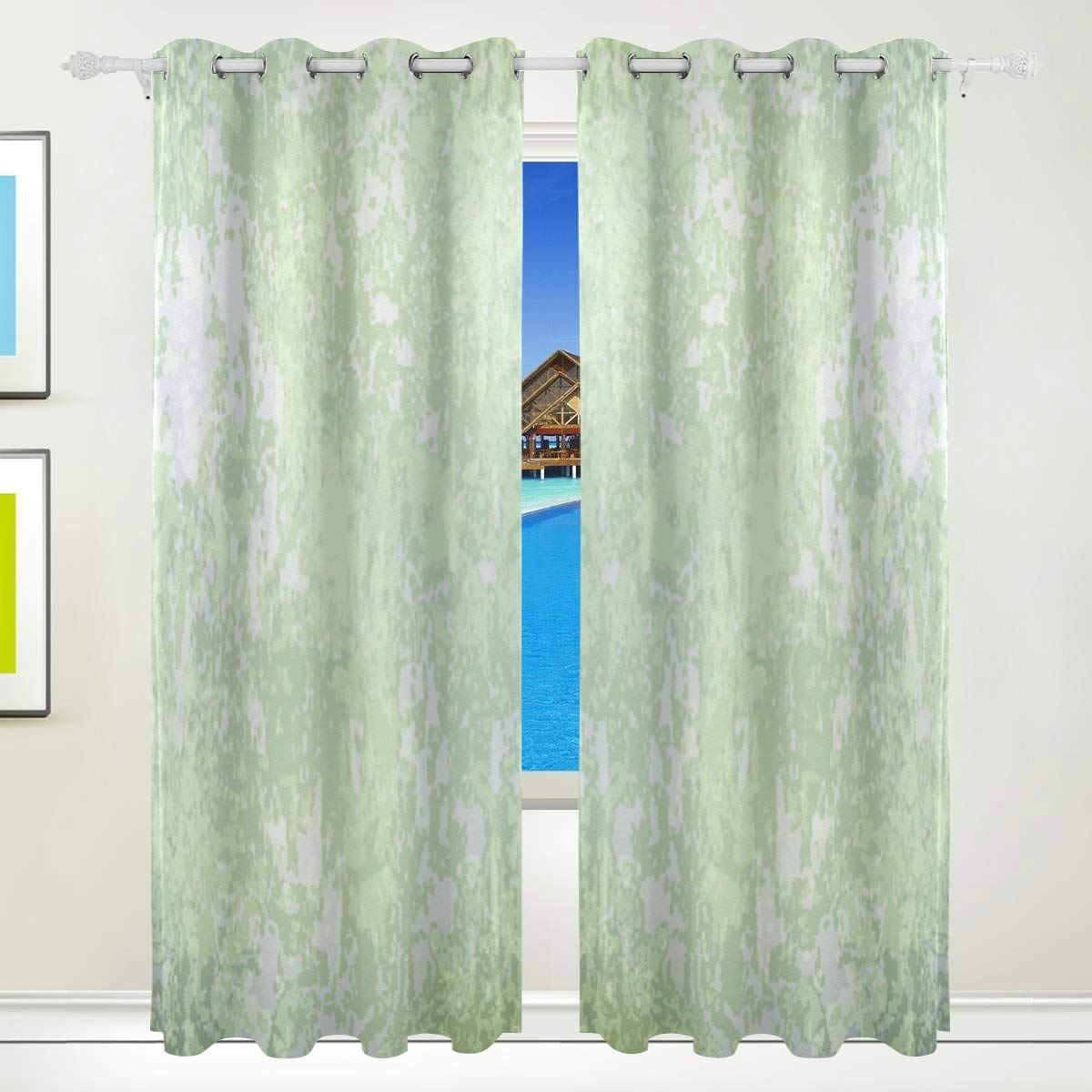 Get Quotations · Vantaso Window Curtains 84 Inch Long Vintage Green For Kids  Girls Boys Bedroom Living Room Polyester