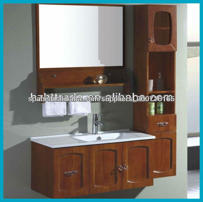 Niza cl sico de madera maciza gabinete de cuarto de ba o for Gabinete de almacenamiento de bano barato