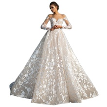 Elegant Vestido De Renda Lace Long Sleeve Wedding Dress Open Back A Line Bridal Gowns