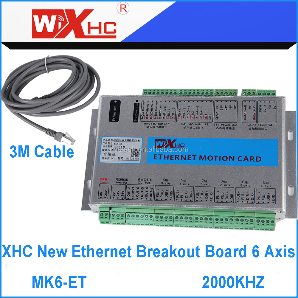 6 Axis Mach3 Ethernet Breakout Board New XHC Ethernet Motion Control Card Mach3 controller 2000KHZ