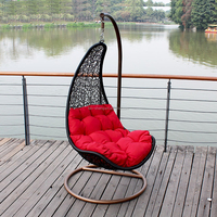 Country Style multicolor PE rattan wicker hanging basket chair for indoor and outdoor,swing hanging chair for sale