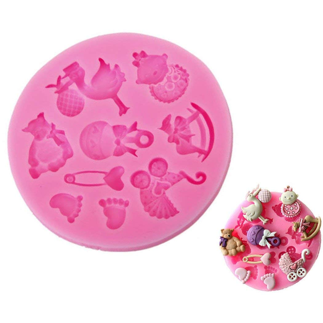 WJSYSHOP Baby Shower Theme Shape Silicone Chocolate Fondant Biscuit Mold Cake Decorating Baking Mould - Baby Shower Theme