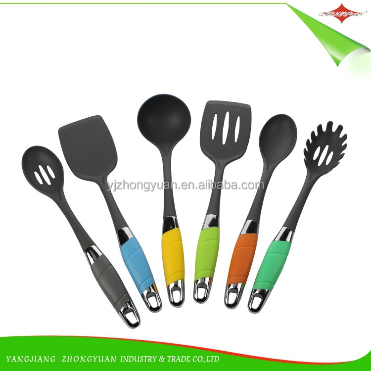ZY-A1103 high-quality 6pcs nylon kitchen utensil set cooking tools set with colorful PP handle