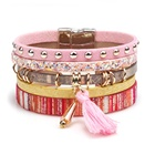 Bohemia Women Pink Multilayer Leather Magnetic Bracelets with Tassels
