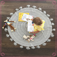 High Quality Handmade Crochet Baby Round Blanket With Tassels Edge in Size: 120x120cm