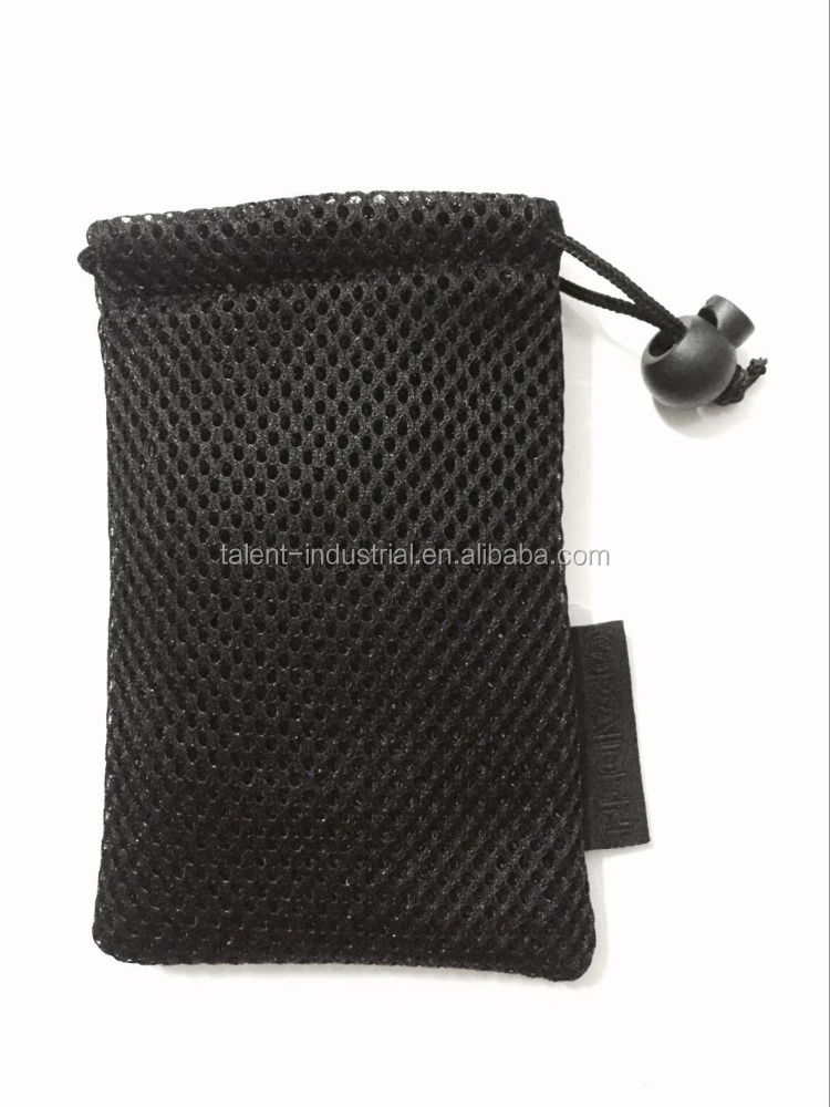 Black high quality durable mesh net bag with lable