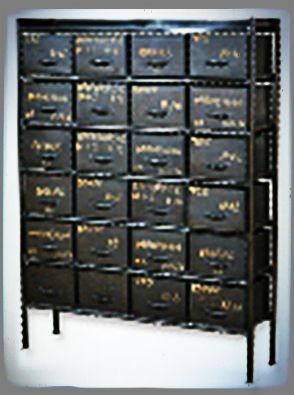 Wrought Iron Home Furniture, Vintage 24 Drawers Storage Cabinet, Industrial  Metal Cabinet