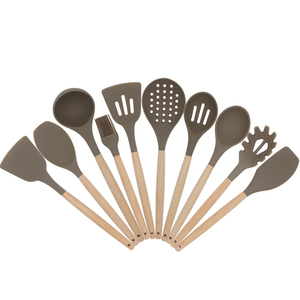 Factory sales low moq oem privite label 10 pcs silicon utensil set