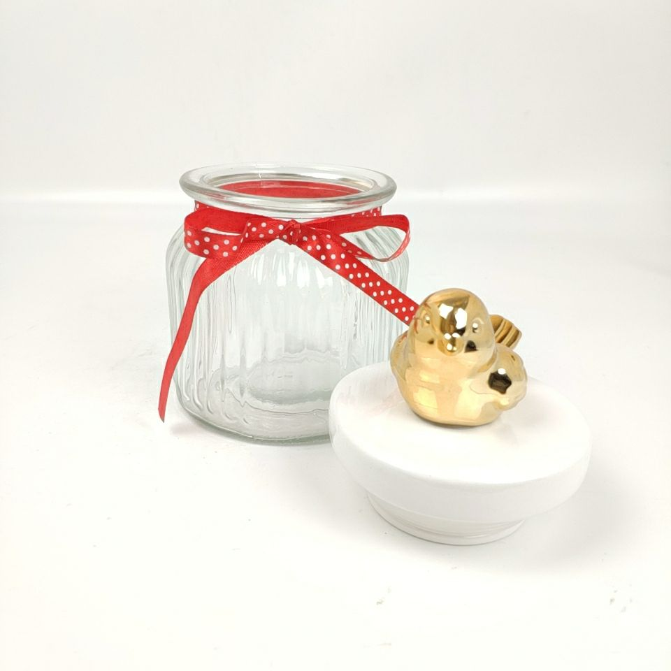 China Wholesale Custom Golden Bird Food Sugar Storage coffee sugar glass jar with ceramic lid
