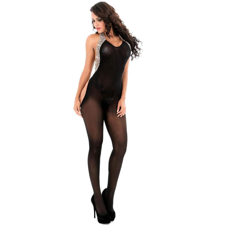 2018 New! Sexy Bodystockings,Leewos Women Backless Leopard Halter Deep Neck Perspective Underwear Lingerie Panties
