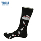 Custom logo womens men cotton fashion jacquard crew bowling socks