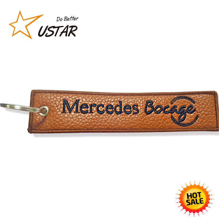 Tourist Souvenir Cool Embroidery Leather Keychain,Promotional Gifts Leather Keychain Blank,Leather Keyring custom