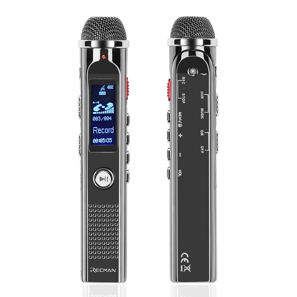 TNP Digital Voice Recorder - Portable Audio Recorder 8GB Dictaphone MP3 Player Rechargeable with USB Port, Voice Activated, Noise Reduction Microphones for Recording Lecture, Interview and Meeting