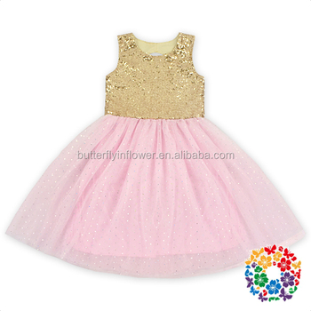 Latest Long Frocks Designs Children Gold Sequin Pink Tuttle Dress 2 Year Old Girls Birthday Party