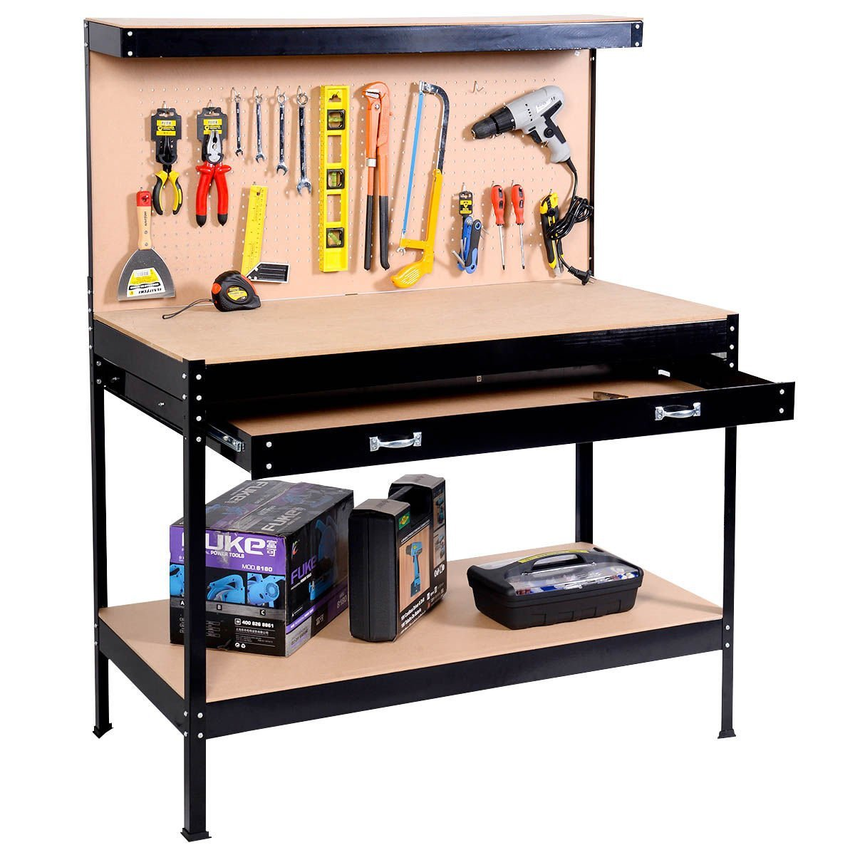 Work Bench Tool Storage Steel Frame Tool Workshop Table W/ Drawer and Peg Boar