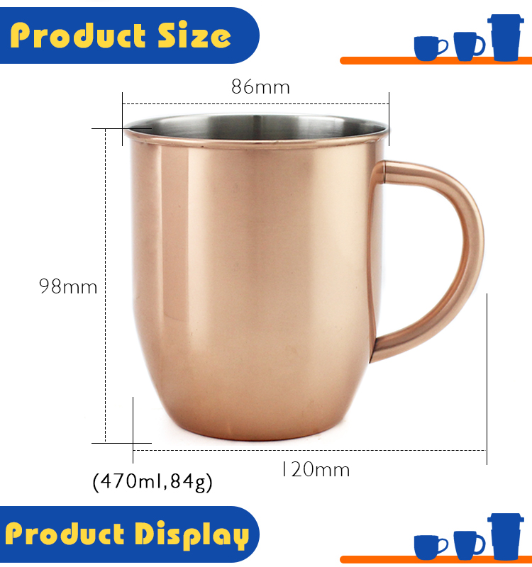 custom stainless steel special Personalized copper reusable coffee vacuum tea cup