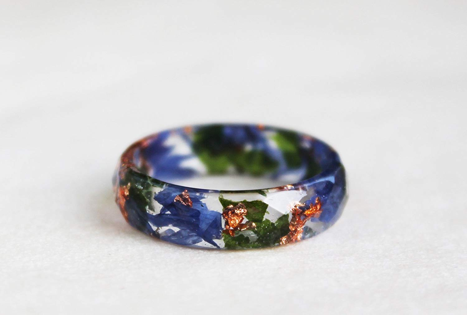 Nature Inspired Resin Ring With Blue Petals, Green Leaves and Copper Flakes