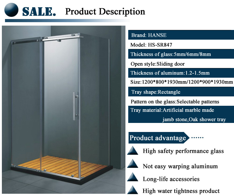 HS-SR847 bathroom showers design/ tempered glass shower/ 6mm glass shower room