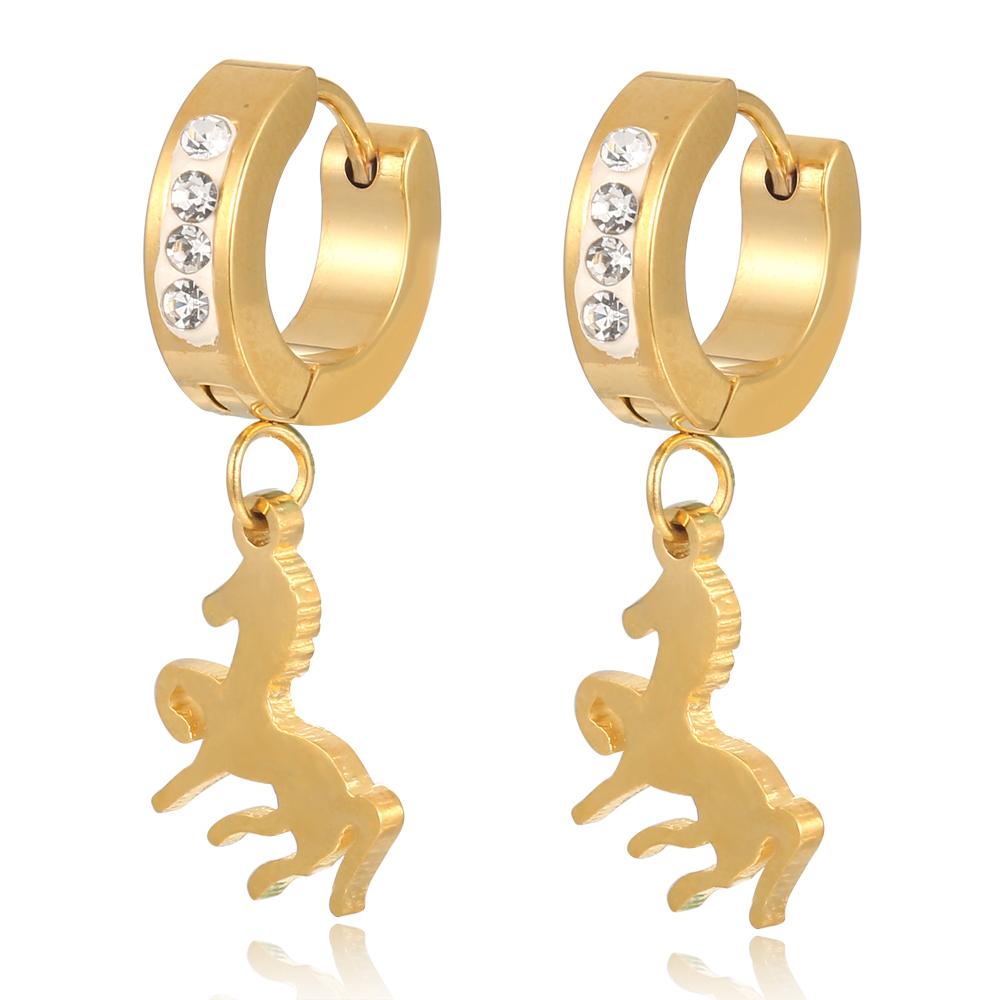 Saudi Gold Jewelry Hanging Running Horse Hoop Earring Beautiful ...