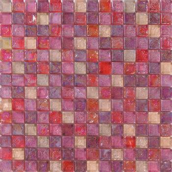 romntico rosa iridiscente azulejos de mosaico de vidrio - Azulejos Rosa