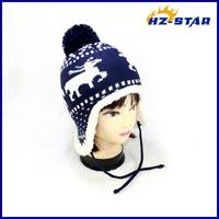 HZM-13264004 wholesale baby pompom ear flap deer print original design hats