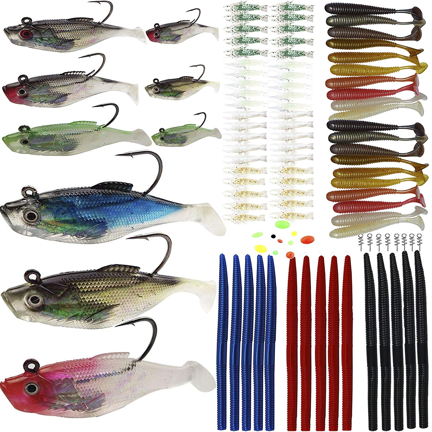 Fishing Lures Kit Soft Baits Tackle Soft Plastic Worms Shrimp Spring Twist Lock Fishing Beads Saltwater Freshwater Lures for Bass,Trout,Salmon