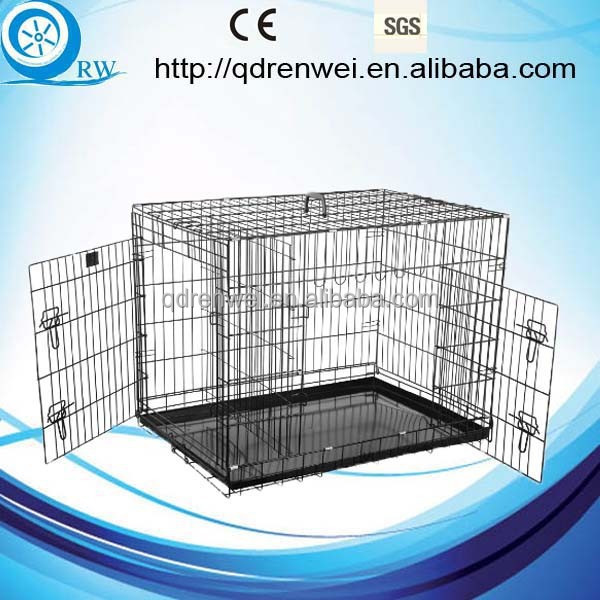 Two Doors Metal Dog Cage with plastic pan