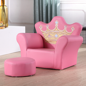Pink Throne Chair Vinyl Mini Sofa With Ottoman For Kids Room ...