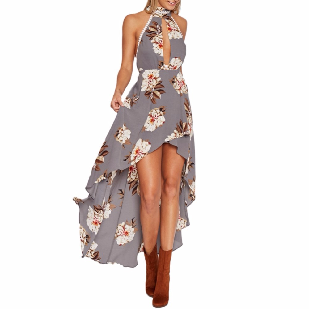 Sexy Wanita Maxi Musim Panas Gaun Halter Neck Floral Print Backless Pantai Asimetris Long Dress Abu-abu