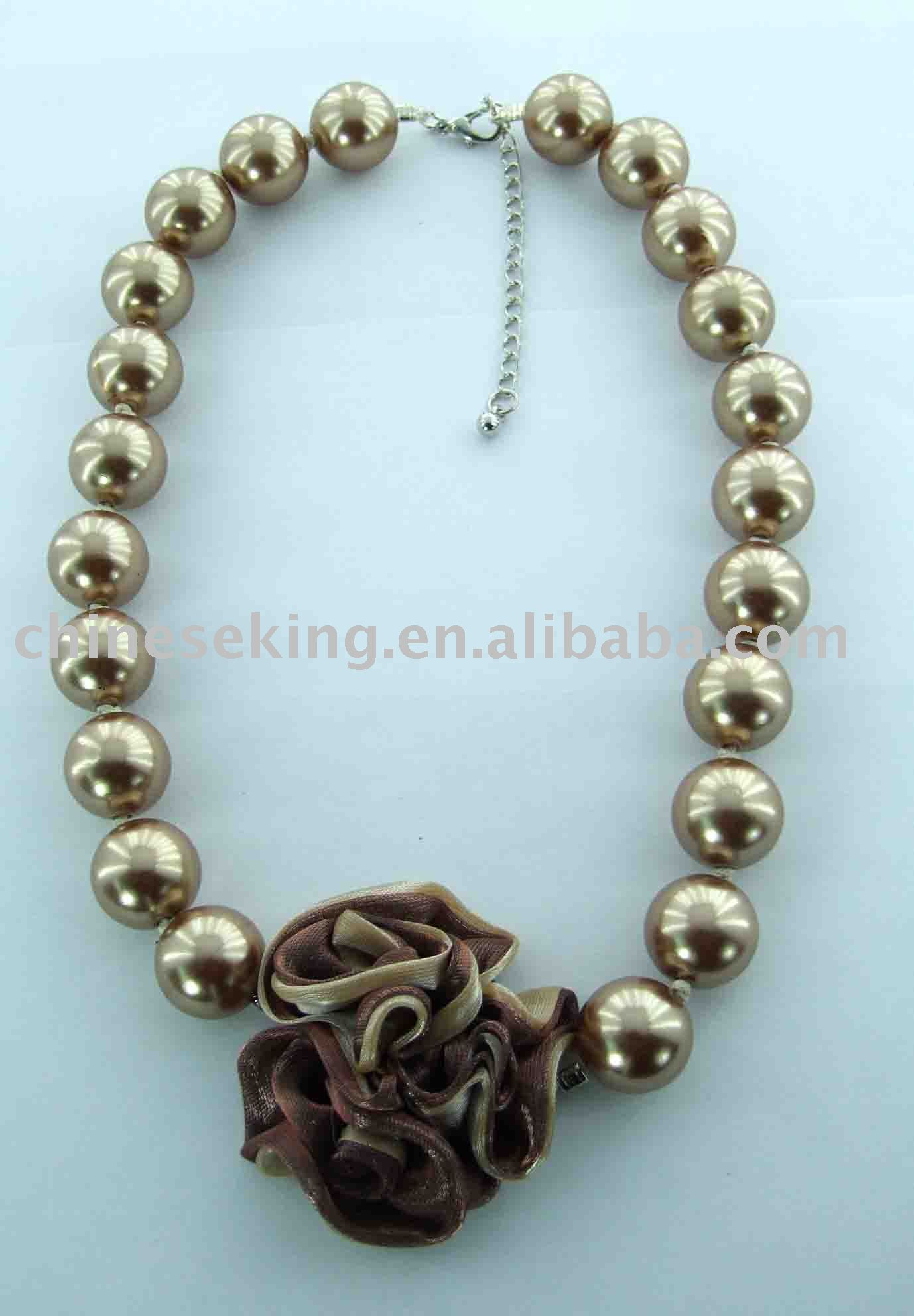 imitation pearl necklace with fabric flower, color pearl costume jewelry