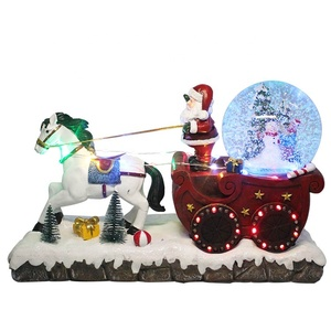 New Flash Led snowing Santa sleigh Musical glittering water snow globe resin Christmas decoration