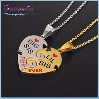 Fashion couple silver gold plated stainless steel custom engraved puzzle heart necklace