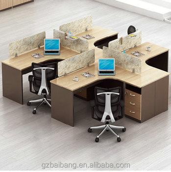 Wooden Staff Workstation Desk Office Furniture 4 Person Office Desk