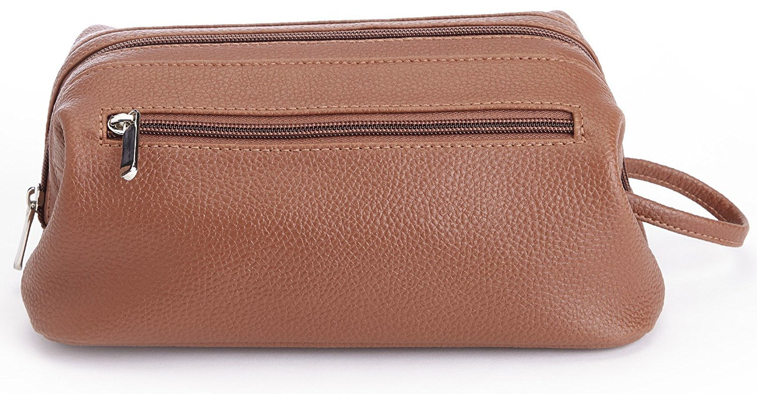 Royce Leather Toiletry Travel Wash Bag in Pebbled Leather, Tan
