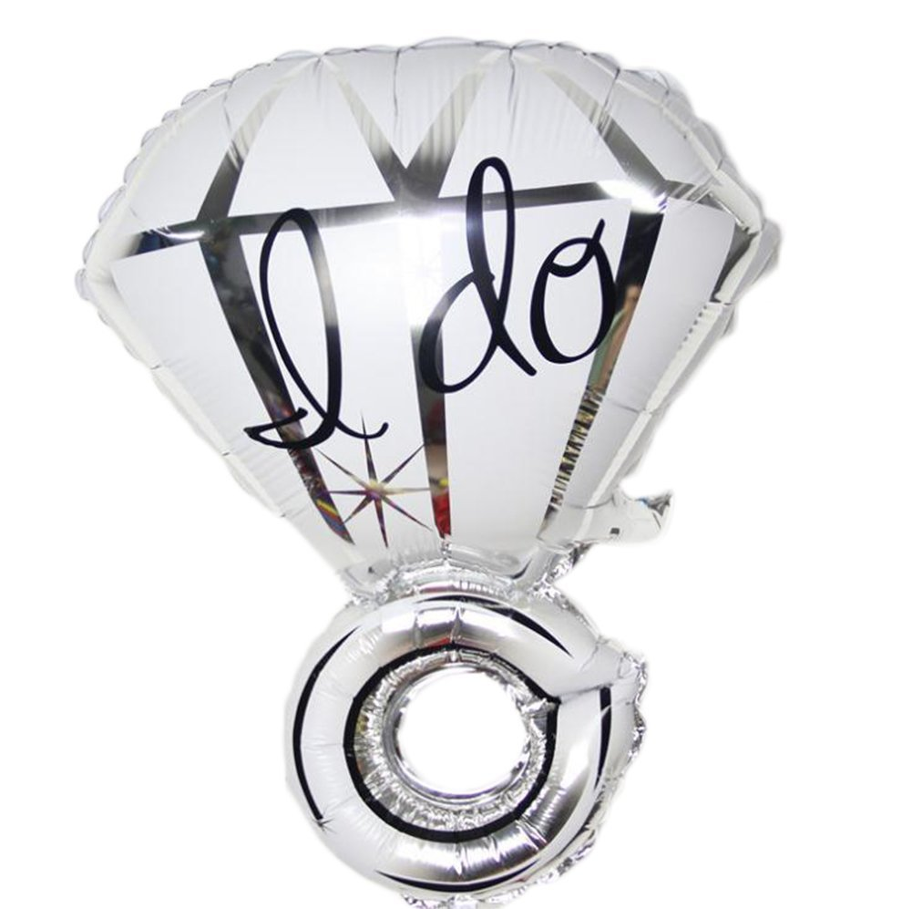 "Da.Wa 1Pcs ""I do""Creative Diamond Ring Engagement Wedding Balloons Birthday Party Decor Balloons (Silver)"