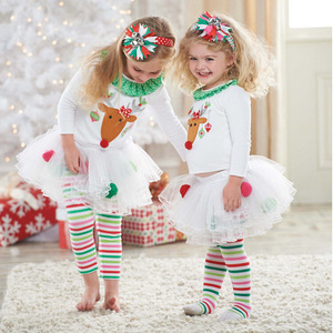 Christmas Kid Clothes Cotton In Girl's Clothing Set Girls Ruffle Outfits Two Piece Dress CC00253