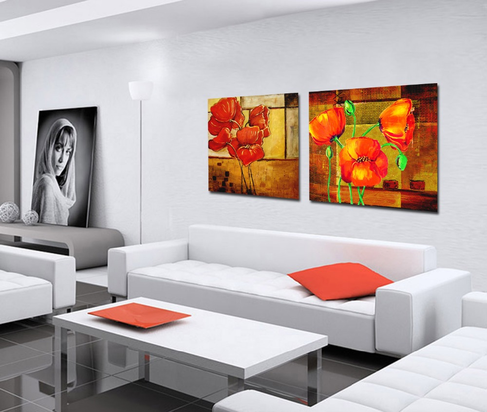 Bright Color Beautiful Abstract Flower High Quality Modern Flower Art Paintings