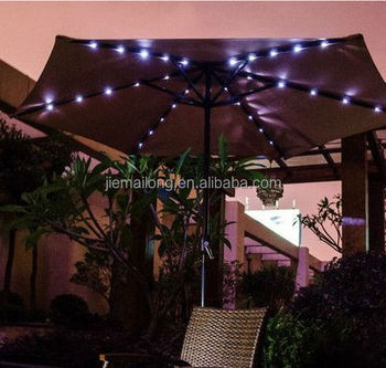 9u0027 Solar Powered Lighted Outdoor Patio Umbrella With Hand Crank Solar  Powered LED Outdoor Umbrella