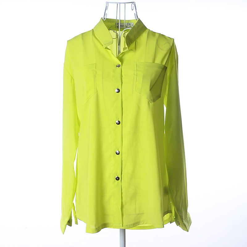 6f5310df012e5c Buy Fashion Women Ladies Polo Neck Long Sleeve Chiffon Pocket Button Front  Casual Tops Blouse Shirts S Green dropshipping blusas in Cheap Price on ...